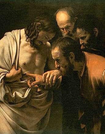 Tommaso mette il dito nel costato di Cristo